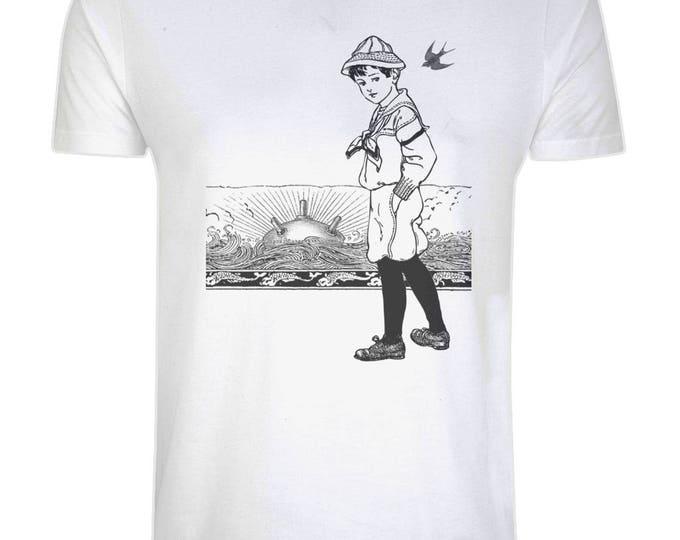 A Day At The Beach. Sunset Horizon Sailor Sea Mine Nautical Organic Cotton T-Shirt. White. Plus Sizes.