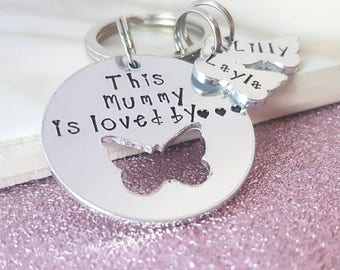 Personalised keyring, mum gift, women's gift, gift for her, mummy keyring, mum keyring, mummy is loved by keyring, mothers day gift,