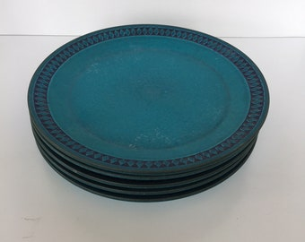 Five gorgeous blue, Sapphire, dinner plates by Ceramano of West Germany
