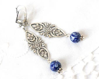 delft blue earrings delft blue filigree earrings chandelier earings delft blue and white delft porcelain earrings delft blue style
