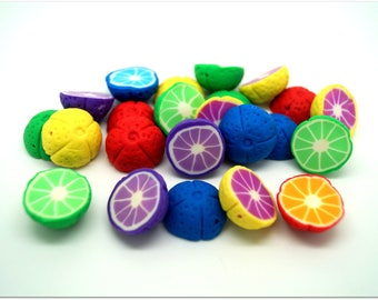 Set of 5 beads - cut fruit bright colors - polymer clay