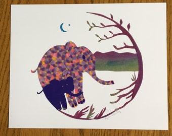 Mama and Baby Elephant, Baby Elephant print, nursery decor, baby room art, kids room art, child african art prints