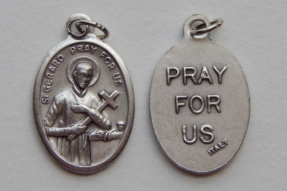 5 Patron Saint Medal Findings - St. Gerard, Pray for US, Die Cast Silverplate, Silver Color, Oxidized Metal, Made in Italy, Charm