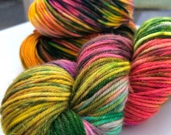 Squash Sparkle Hand Dyed Yarn Superwash Merino Nylon Stellina Platinum DK Worsted Weight Orange Green Pink Neon Splashes