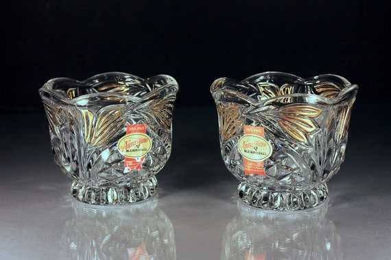 Crystal Anna Hutte, Votive Candle Holders, Bleikristall, Set of 2, Cut Glass, Pair, 24% Leaded Crystal, Gold Trim, Candles Included