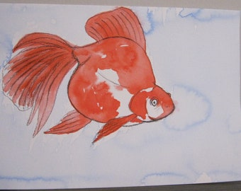 Goldfish #3 - India Ink Watercolor Painting - Original