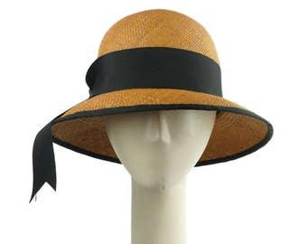 Golden Brown Sun Hat, Panama Straw Hat, Beach Hat, Church Hat, Summer Hat, Sun Hat, Straw Hat, Cloche Hat, Straw Cloche, Womens Hat