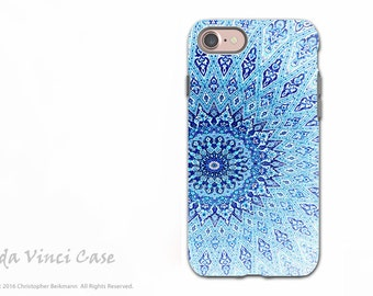Blue Zen Mandala - Artistic iPhone 7 / 8 Tough Case - Dual Layer Protection - Cloud Mandala