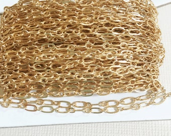 32ft spool of Light Gold plated Long and Short chain 4X2mm soldered links, gold bulk chain