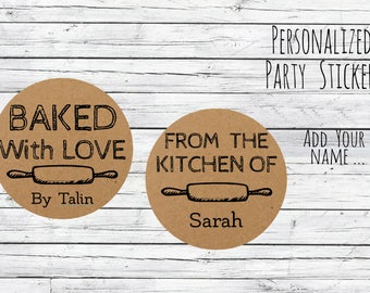 Kraft Baked with Love Personalized Baking Labels or Tags Stickers Favors, Made with Love, Baked with Love, Homemade Box Labels