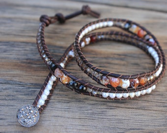 Fire Agate, Fresh Water Pearl and Smoky Quartz triple wrap dark brown leather bracelet with 1920's antique button