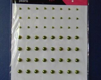 Sage Green Flat Back Pearls  (369)