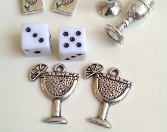 CLEARANCE Collection of 8 Game Night Party Drinks - Cocktail Dice Beads Cards New Year's Antique Silver Finish Tibetan Style 3/4 Tall