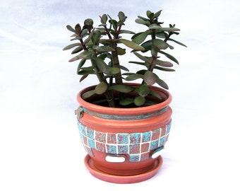 Hand painted ceramic indoor flower pot Mosaic plant pot Handmade art pottery pot planter Ceramic ornamental flower pot Gift for gardener