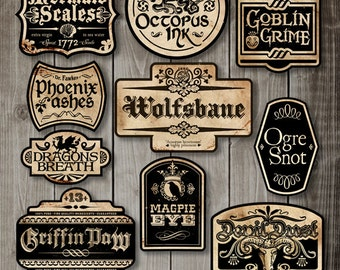 Apothecary Labels - Halloween Labels - Digital Clip Art Graphics
