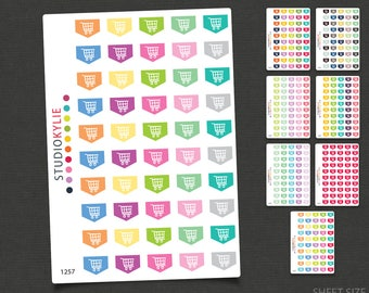 Mini Shopping Trolley Flags -  Planner Stickers - Star Flags - Repositionable Matte Vinyl to suit all planners