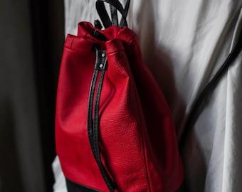 Crimson black genuine leather backpack / Genuine leather designer bucket bag / Red leather drawstring festival bag