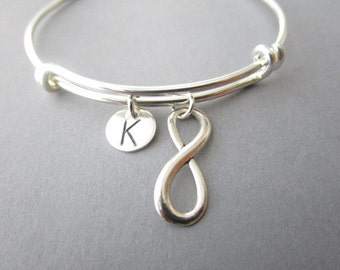 Infinity, Initial- Bangle Bracelet