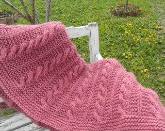 Cable Knit Blanket. Pink Throw Blanket. Hand Made Afghan. Wool Chunky Hand Knit Throw Blanket. Housewarming Gift. Mother's Day gift. Gift.