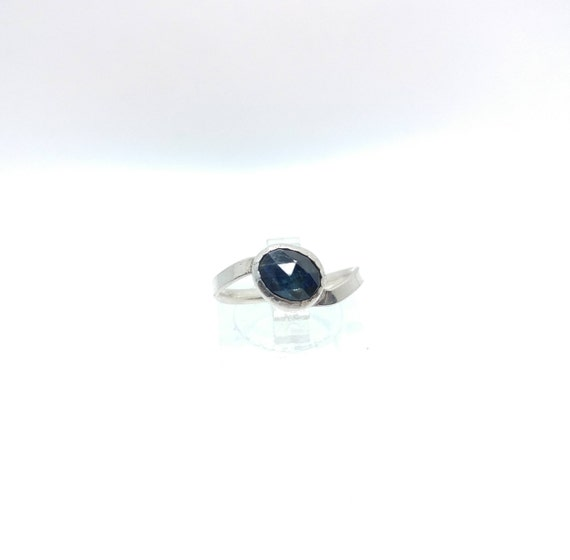 Rose Cut Blue Sapphire Ring | Sterling Silver Ring Sz 6.5 | Rose Cut Sapphire Ring | Simple Blue Ring | September Birthstone Ring