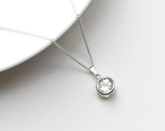 White Topaz Necklace  - White Topaz April Birthstone Necklace -  White Topaz Jewelry Jewellery  -  White Topaz Pendant  Necklace  - C38