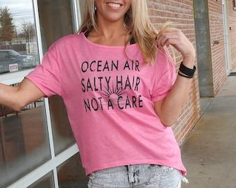 LAST ONES! Beach Backless Tee, Ocean Air, Salty Hair, Not a Care, Open Back, Yoga, Dancer, Barre, Workout, festival