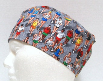 Mens Scrub Hat, Surgical Cap or Skull Cap Runners on Grey