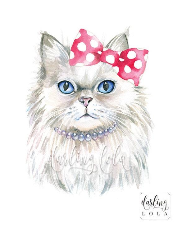 Cat Watercolor Print Persian Cat Princess Cat Cat Art