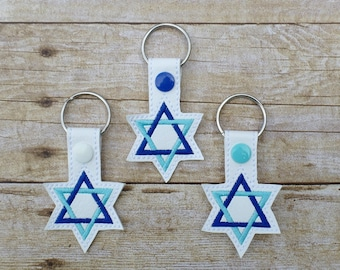 Star of David key chain, Jewish star key chain, Jewish pride key chain,