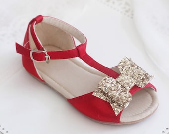 RED Satin T-strap Flats with Rock Glitter Bow - for flower girls, toddler girls shoes