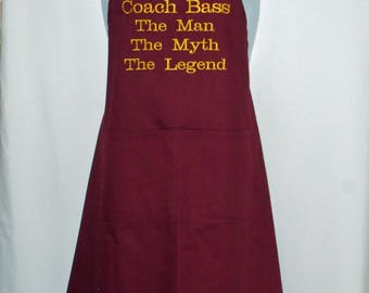 Apron For Coach, The Man, Myth, Legend Apron, In School Team Colors, Custom With Name, Teacher, Principal, Husband, Ships TODAY, AGFT 1133