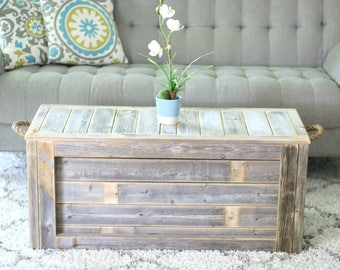 Natural Unfinished Coffee Table with Rope Handles