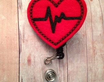 Medical professional heart themed EKG badge reel -- nurse, doctor, medical assistant, nurse practitioner, physician's assistant, LPN, CNA