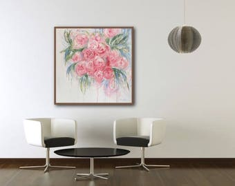 Limited Edition Gicleé Print 'Peony Everlasting'. 80 x 80cm. FREE UK SHIPPING