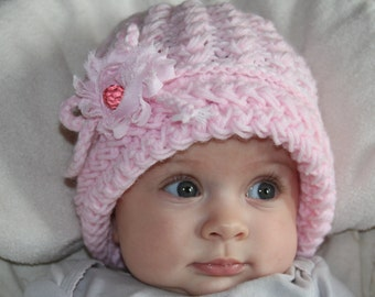 Pink baby girl knit hat. Knitted baby girl hat. Girls knit hat. Flower hat. Newborn knit hat. Crochet baby girls hat. For age 0-2 years old