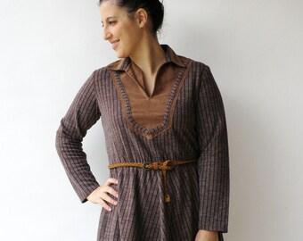 Vintage Brown Dress / 70s Striped Dress / Size L