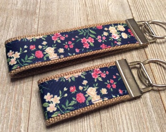 Navy Floral Key Key Wristlet and Mini - Navy Flower Key Chain - Floral Key Chain - Gift for Her - Stocking Stuffer