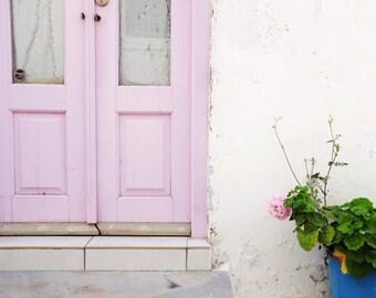 "Greece Photography, Pink Door Photograph, Pastel Wall Decor, Doorway, Entry Room Art, Architecture Art ""Pastel Pinks"""