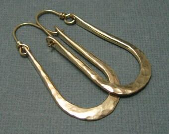 Artisan Hammered Gold Filled Hoops, Handmade Gold Earrings, Gold Horseshoe Hoops, Artisan Hammered Medium Hoop Earrings, Gold Earrings,