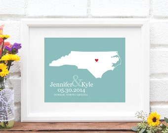 Wedding Gift, North Carolina State Map , Custom Wedding Gift, Bridal Shower Gift, Southern Bride, Shower Gift- Art Print
