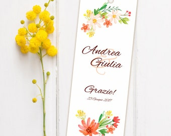 Wedding placeholder. Bookmark Thanksgiving Wedding. Floral placeholder with details wildflowers, with ribbon or without.