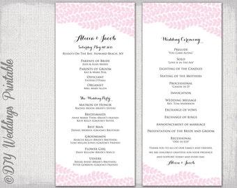 Catholic Wedding Program Template Champagne Scroll - Wedding invitation templates: wedding order of service template