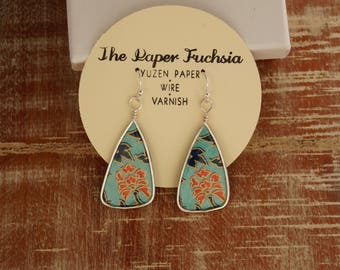 paper jewelry, paper earrings, paper and wire earrings, drop earrings, turquoise and blue patterned paper earrings