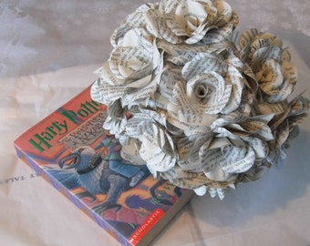 12 x Harry Potter Paper Flowers, Book Page Paper Roses - Handmade Paper Flowers - Dozen paper roses