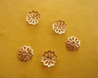 Set of 10 Gold Flower caps - 8mm