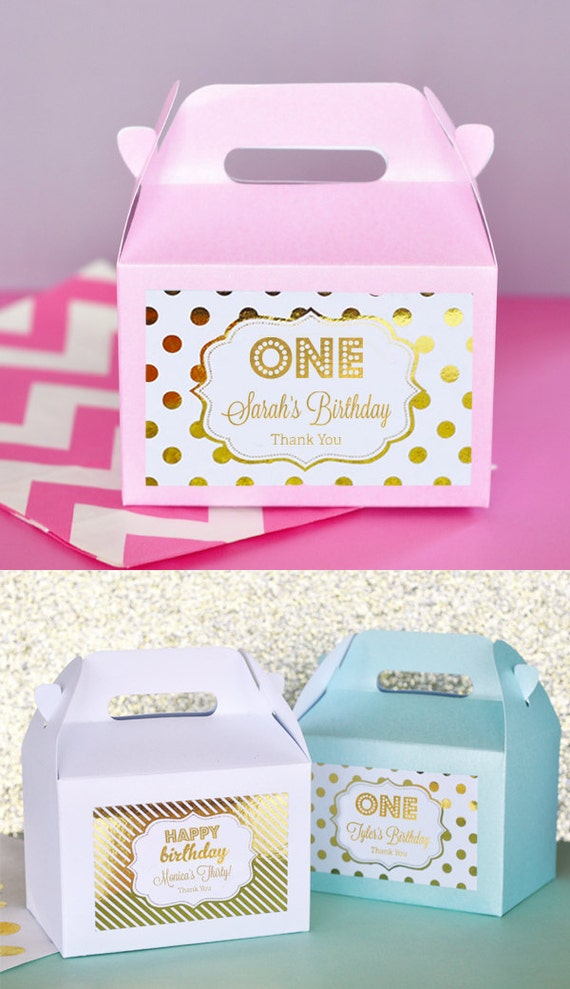 1st Birthday Party Favors Boxes Pink and Gold 1st Birthday