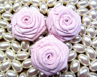 5 pcs Fabric Flower Rose Ribbon Pink Rosettes Fabric Rolled Rosette Fabric Roses Twisted Grosgrain Roses Wholesale Ribbon Flowers