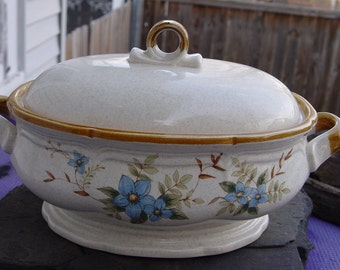 Vintage Mikasa Garden Club 'Day Dreams'  EC 400 Pattern Soup Tureen with Spoon Notch