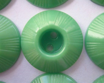 "12 Vintage Plastic Buttons, 3/4"", Jadeite Green, Domed Top Inkwell, Two-Hole Sew-through"