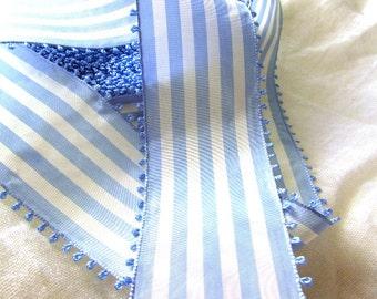 Blue and White Striped Ribbon, Vintage Picot Ribbon, White and Sky Blue Taffeta Ribbon, Wide Ribbon, Picot Edge, Vintage Millinery, Spring